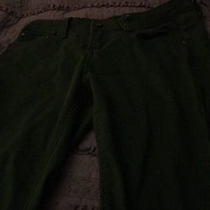 Jeans, lounge pants, and green pants.